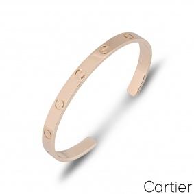 Cartier Rose Gold Plain Cuff Love Bracelet Size 18 B6032618